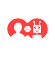 red simple chatbot hotline logo vector image vector image