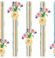 rose flowers seamless stripe background vector image vector image