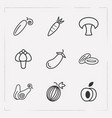 set of fruit icons line style symbols with dates vector image
