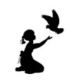 silhouette girl bird pigeon world vector image