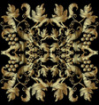 textured embroidery gold 3d baroque pattern vector image