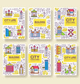 thin line city skylines brochure cards set vector image