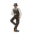 victorian man vintage whiskey strong alcohol vector image vector image