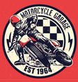 vintage motorcycle garage design with dirty vector image vector image