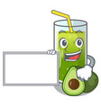 with board avocado smoothies in a mascot glass vector image vector image