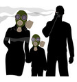 woman and child in a gas mask to protect from vector image