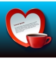 Banner for Valentine red heart and tea vector image