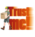 Delivery man with a box vector image