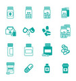 different pill or drug jars icons isolated vector image
