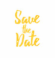 save the date golden text lettering wedding vector image