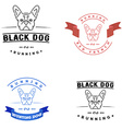 Set of logos with french bulldog and tape Nanoline vector image