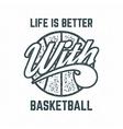 Vintage Basketball sports tee design in retro vector image