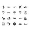 aircraft flat glyph icons set airplane