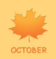 autumn maple leaf on yellow background vector image vector image