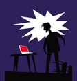 bad news angry man in front computer vector image