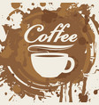 banner with cup of coffee stains and splashes vector image vector image