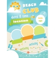 Beach Club or Camp for Kids Summer Poster vector image vector image