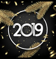 black 2019 happy new year card with golden bow and vector image vector image
