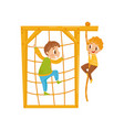 boys climbing net rope kids on a playground vector image vector image