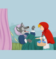 cartoon little red riding hood and wolf vector image vector image