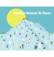 Cartoon Mountains Skyline Ski Resort Seamless vector image