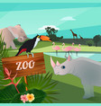 cartoon of wild animals in zoo funny vector image