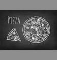 chalk sketch pizza vector image vector image