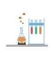chemical flasks icons vector image vector image