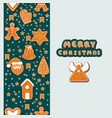 christmas gingerbread cookies making a rectangular vector image vector image