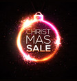christmas sale discount banner neon style card vector image vector image