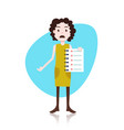 confused woman character holding checklist survey vector image