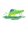 Crocodile Swimming In Pool With Rubber Hat vector image vector image