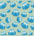 cute owls father and son characters pattern vector image
