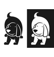 dog character black and white silhouette vector image
