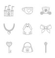 doll princess icon set outline style vector image vector image