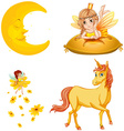 Fairy tales characters and moon vector image