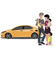 family standing near new car vector image vector image