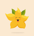 funny happy star fruit character design vector image vector image