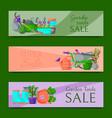 garden tools sale horizontal set of banners vector image