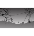 Halloween silhouette of spider and scary zombie vector image vector image