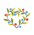 heart-shaped frame or border made of branches with vector image