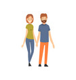 loving couple standing and holding hands happy vector image vector image