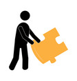 man holding a puzzle piece vector image