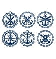 Marine and nautical emblems icons vector image