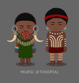 mursi people in traditional costume vector image vector image