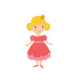 portrait of cute fairy tale princess in pink dress vector image