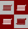 radiator sign bordo and white icons and vector image vector image