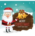 santa greeting on wooden card merry christmas vector image vector image