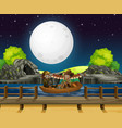 scene background design with people rowing boat vector image
