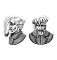 sea captain marine old sailor with pipe vector image vector image